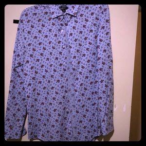 Long sleeve floral print dress shirt.